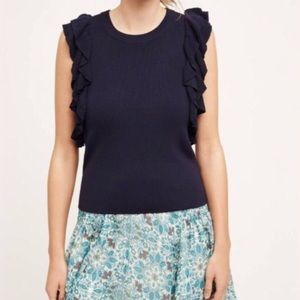 Anthropologie Navy Ruffle Top